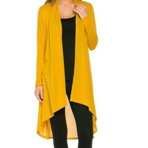 Sweaters - 🌸Super Soft Open Front Drape High Low ( Mustard)